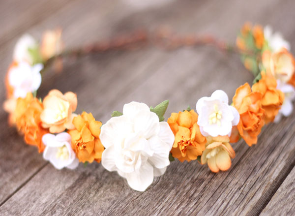 Handmade Flower Hair Crown Ivory and Orange Hair Wreath Rose Headband